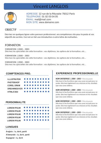CV étudiant en master