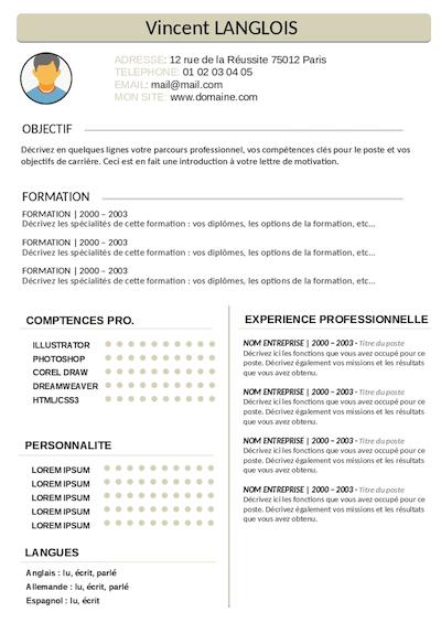 CV étudiant en bac pro